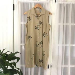 White Stag Palm Print Linen Blend Shirtdress